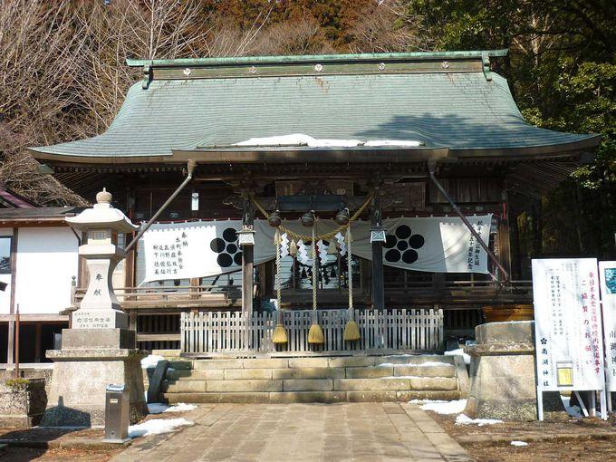 南湖公園内の、シダレザクラが美しい南湖神社
