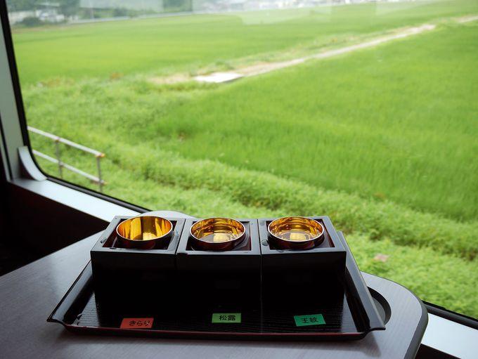 飲みすぎ注意!車窓を眺めながら新潟と山形の地酒を。