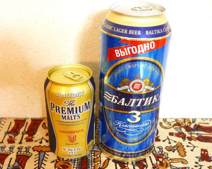 ロシアの定番は「バルチカ」。缶ビールだって1リットル!
