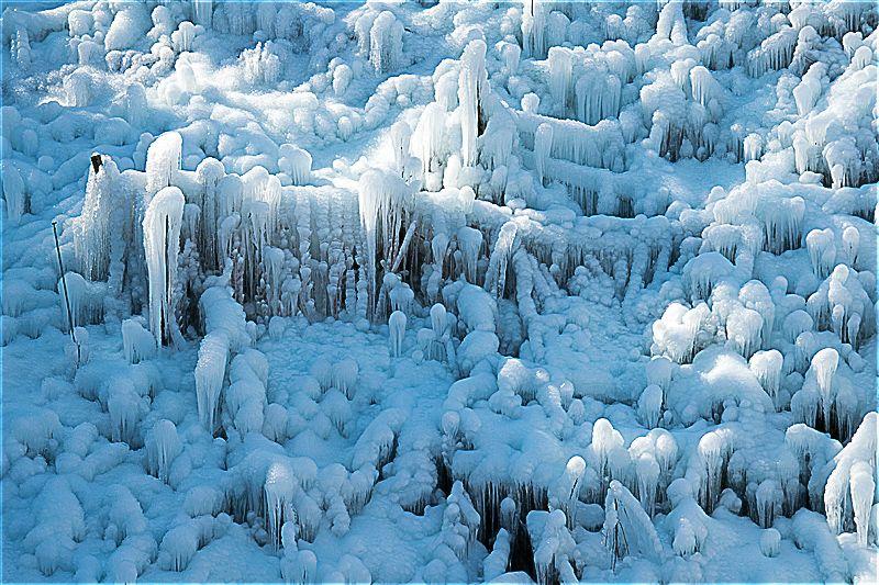 間近で見る氷の芸術