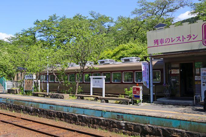 駅に列車のレストランがある神戸(ごうど)駅