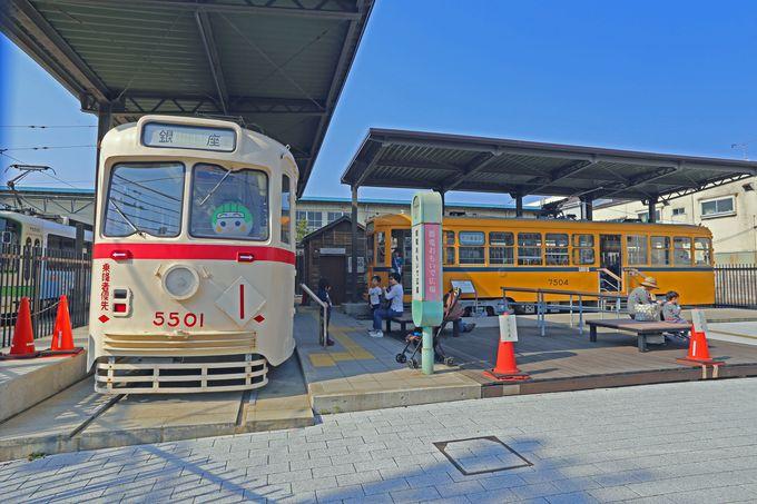 旧型電車が展示されている「都電おもいで広場」