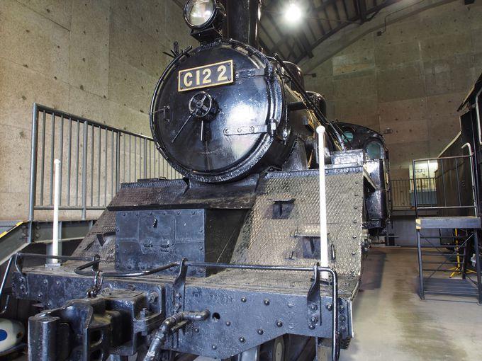 三笠鉄道村の車庫に静態保存されているSL