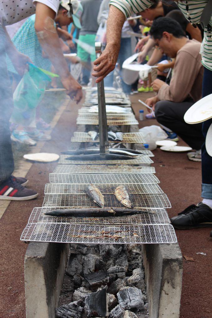 炭火で焼いたサンマを食べる!