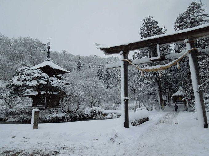 絵のような安久津八幡神社の三重塔