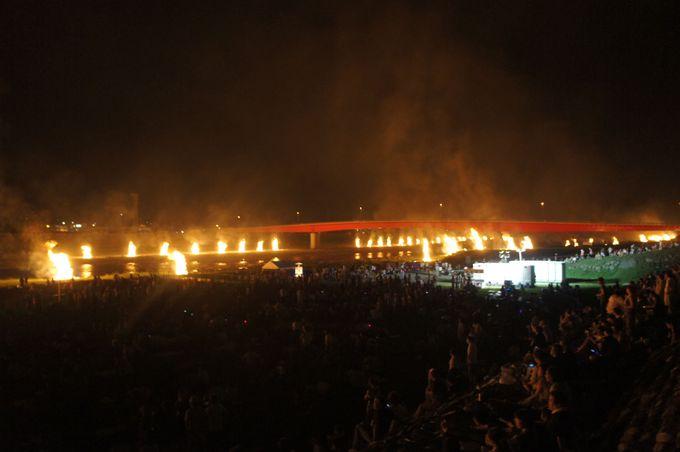 富士川が燃えているような光景「百八たい」