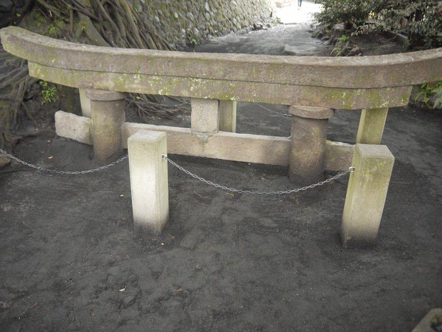 桜島 埋没鳥居