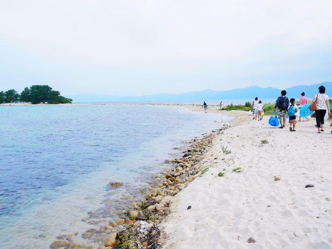 水島に到着!そこは白い砂洲が続く美しい島