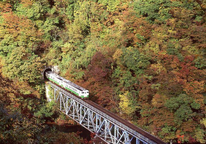 もちろん紅葉も素晴らしい!おススメは第三只見川橋梁の眺め。
