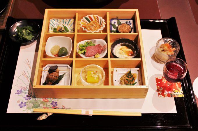 彩り鮮やかな夕食!9種類の前菜と上州牛と上州麦豚のしゃぶしゃぶは絶品!!