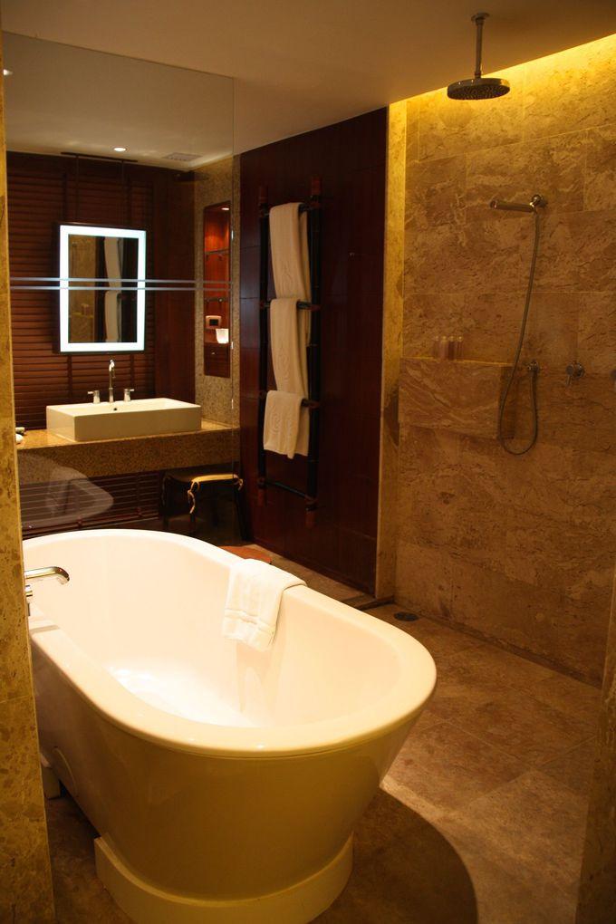1日何度も使うバスルームが広い客室。