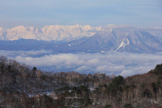 志賀高原から北信州の山々と北アルプスを眺望