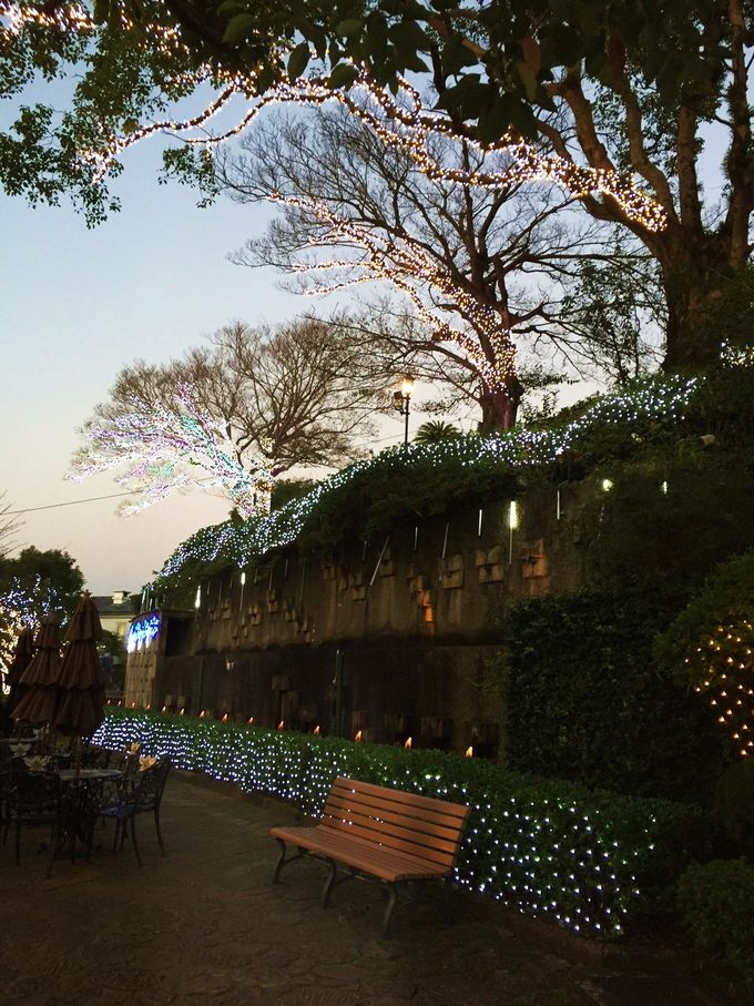 グラバー園内のガーデンカフェのライトアップも魅力