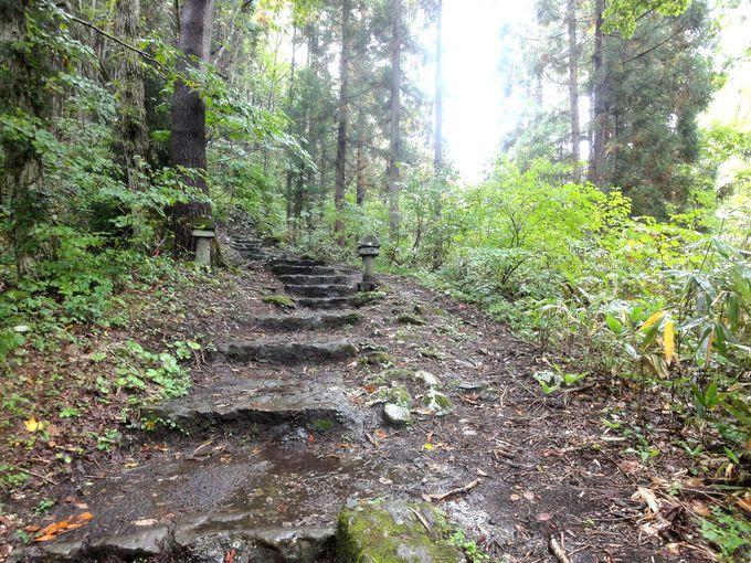 約140段の階段を登る!