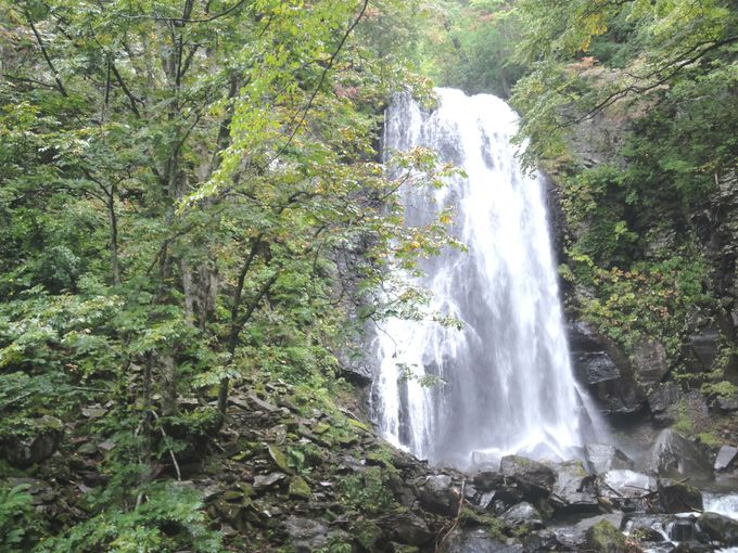 落差25mの豪快な滝を眺める