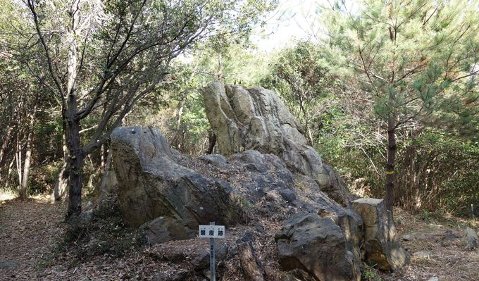 頂上付近は曲輪跡、庭園跡、磐座跡など史跡が盛りだくさん