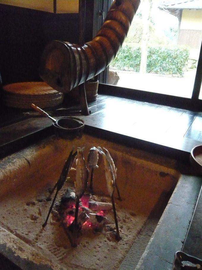 囲炉裏で焼かれた川魚