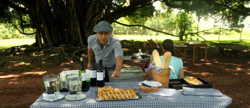 敷地内でアルゼンチン、アサード料理を満喫