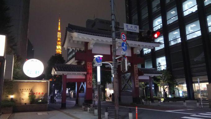 東京タワーを望みながら直進で芝大門ホテルへ