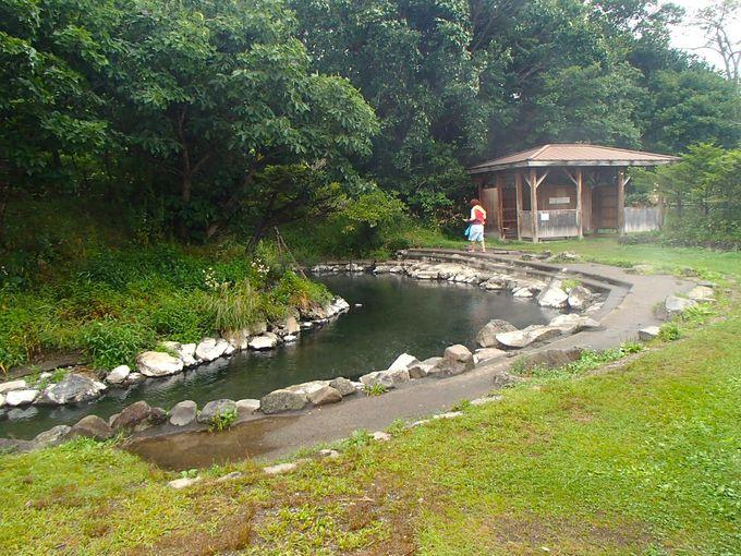 小さな半島に大きな湯船の「和琴露天風呂」
