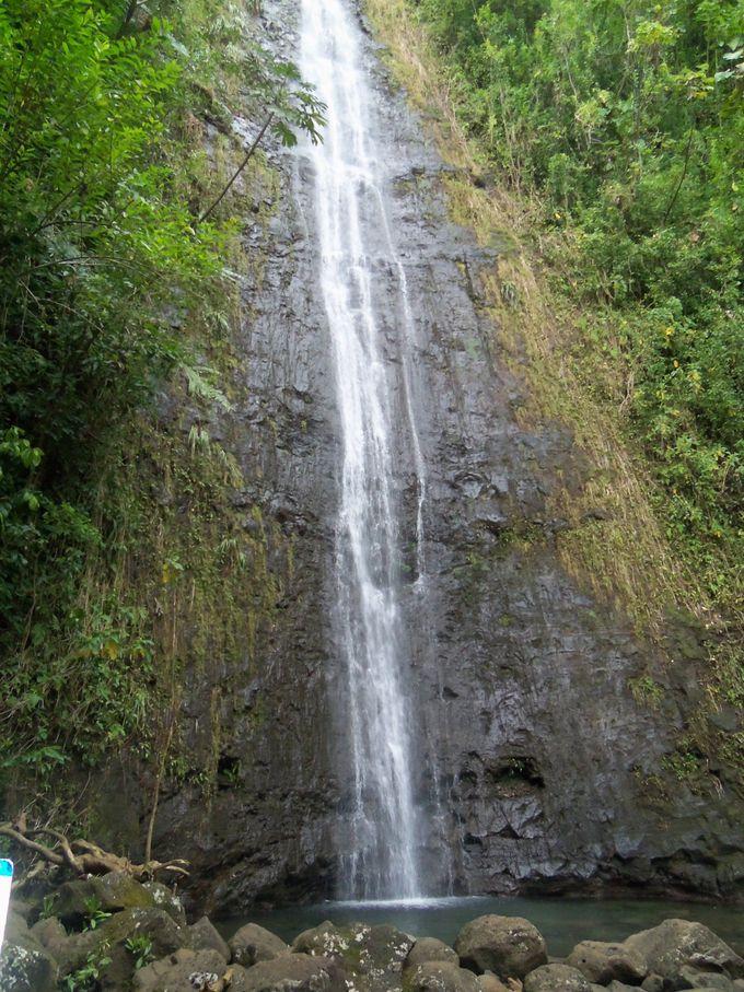 短いトレイルの終点に待つ、清涼感満点の滝