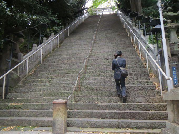 男坂(出世の石段)を登って仕事運上昇