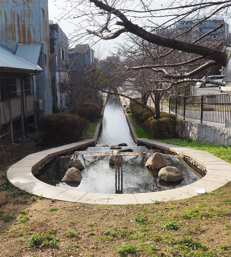 河口慧海像と堺の環濠跡