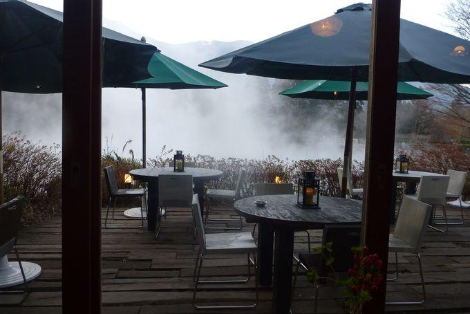 カフェから金鱗湖を眺めてみよう
