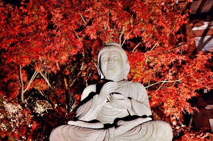石像と紅葉