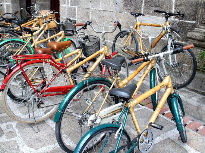 歴史地区をバンブーバイクに乗ってサイクリング