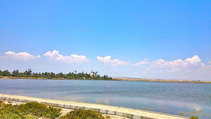塩湖に佇むモスク