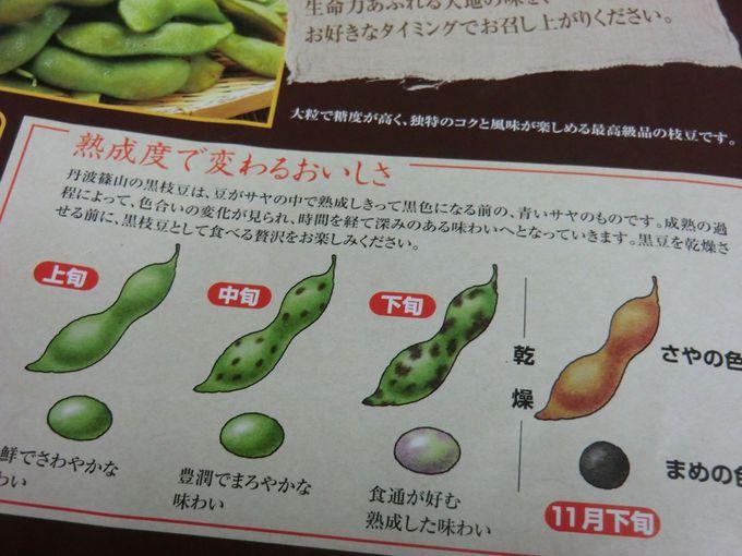 熟成度で変わる黒枝豆の美味しさ、あなたのお好みのタイミングで召し上がってください♪