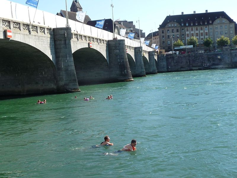 流されてる…いや泳いでます!バーゼル人と一緒に夏のライン川で泳ごう