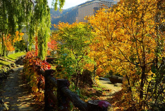 紅葉絶景の定山渓温泉で見るべきは、山と川と谷と橋。