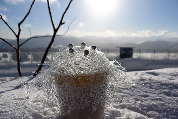 「てんぼうかふぇ」で霧氷の世界を満喫しよう