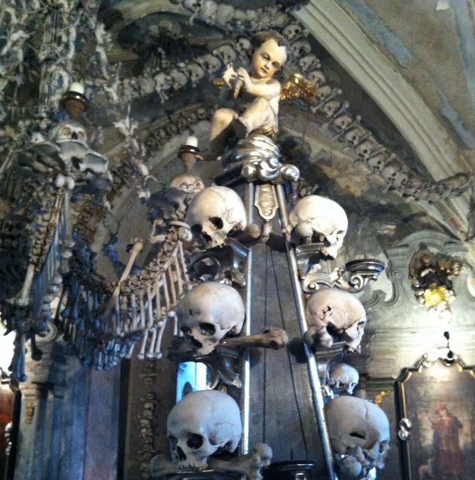 装飾という「生」と骸骨という「死」が混在する空間