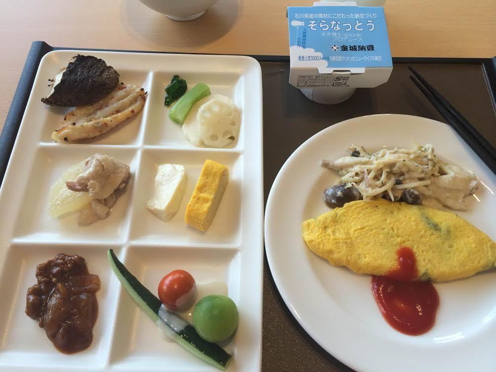 加賀野菜と地元食材尽くしの朝食