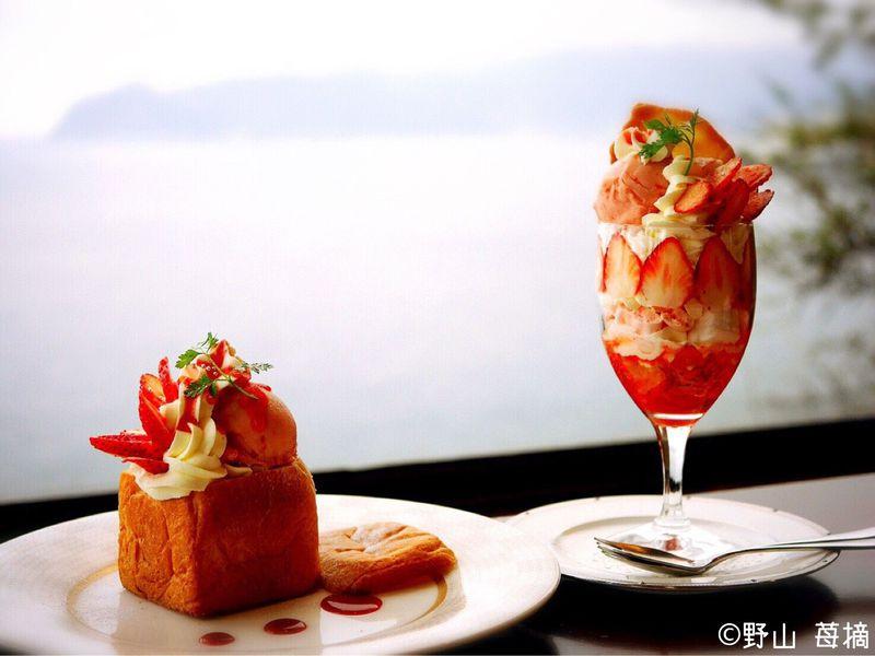 伊豆の絶景カフェ「花の妖精」で見惚れるパフェと豪華な伊勢海老カレー!