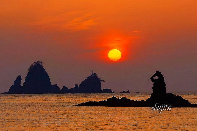 「日本の夕陽百選」大田子海岸の夕日は、ズームレンズで撮影しよう!