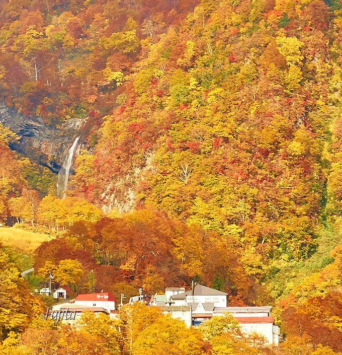絶景の紅葉名所「大田切渓谷」の中にある!燕温泉「花文」