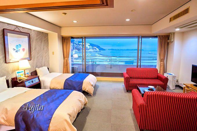 熱海温泉ホテルサンミ倶楽部は、全室オーシャンビューで客室も広大