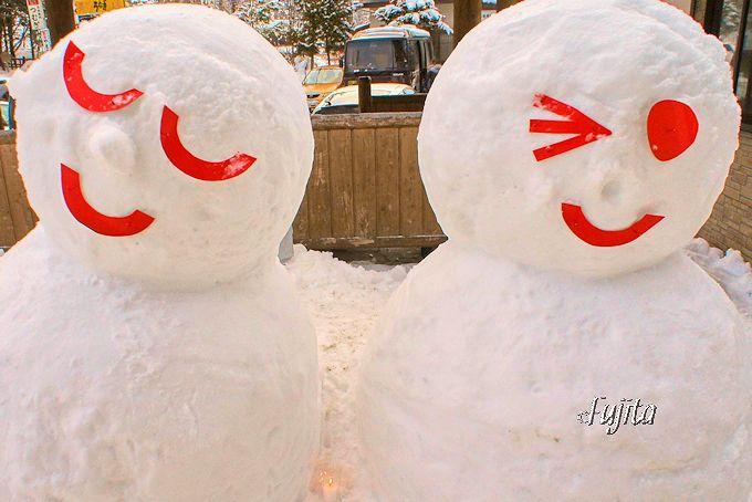 湯西川温泉「かまくら祭」愛嬌たっぷりの雪だるま