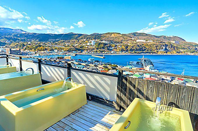 赤尾ホテル海諷廊の温泉は、海を望む展望露天風呂が爽快!