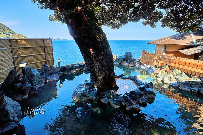 走り湯源泉のかけ流し浴槽を新設!ホテル水葉亭の温泉は海の絶景が素晴らしい