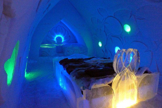 氷のベッドにソファー、彫刻の数々…