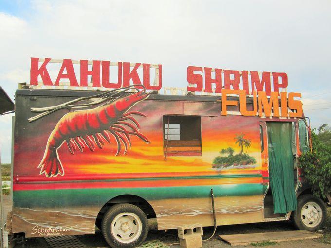養殖場がすぐ裏手。いつでもとれたて新鮮のフミズ(Fumi's Kahuku Shrimp)