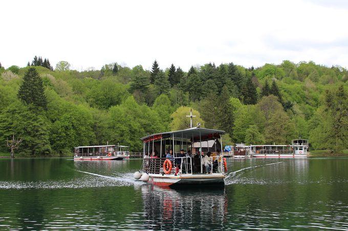 公園内の移動は遊覧船かバスが便利