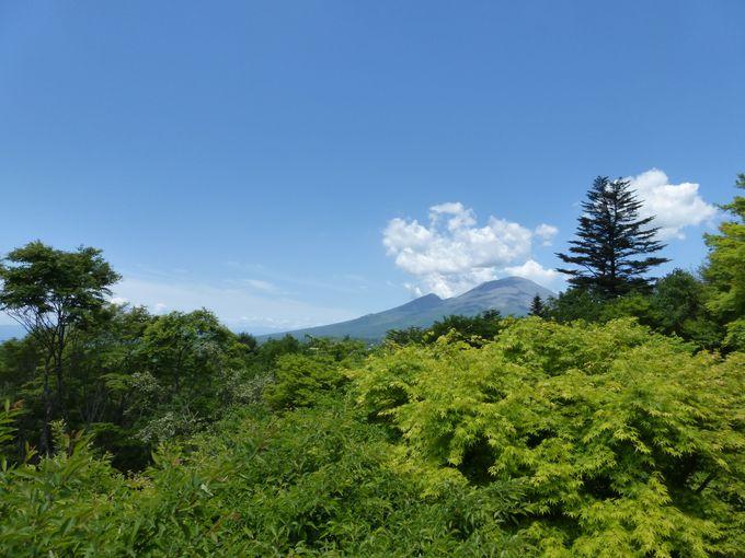 見晴台から振り返れば雄大な浅間山の山並みが!