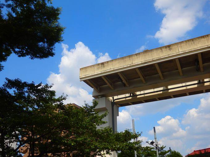 広大な森や水辺の公園、そして空中で突然消える高架線路