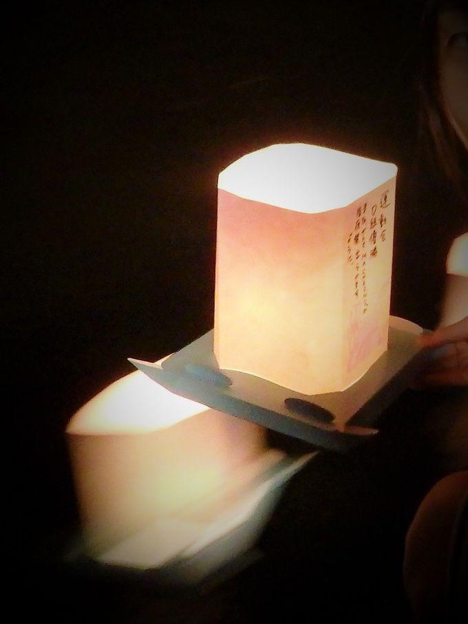 燈籠を流して、九頭竜川に幻想的な光の帯を描く